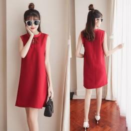 6230 # temperament bow sleeves sleeveless dress