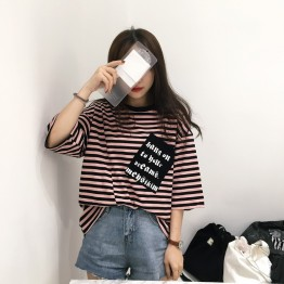 5232 # real shot South Korea ulzzang Hong Kong flavor striped letter printing pocket short sleeve TEE women blouse