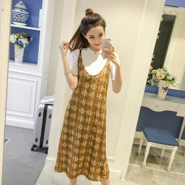 7165 print chiffon dress  with short sleeve t-shirt