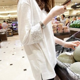 8019 # 2017 Korean fashion sequined cuffs white loose large length long sleeves bamboo cotton T shirt