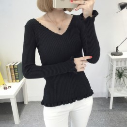 8075 Korean V-neck women's sexy slim sweater