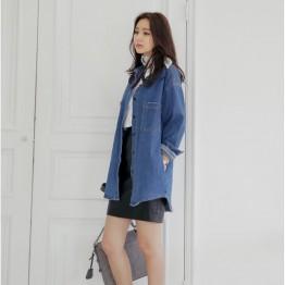 1608 retro preppy style denim jacket