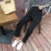 3095 # high waist loose split hooded nine points casual pants