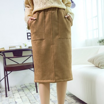 2017 spring and summer slits high waist coat Slim was thin in long paragraph woolen pencil skirt female # 1314