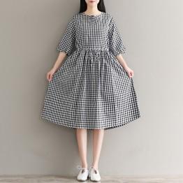 1929 retro lattice loose large size cotton and linen dress