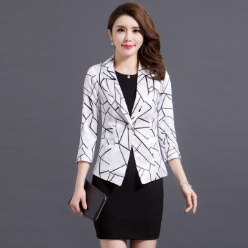 2017 spring new self-cultivation seven-point sleeve printing small suit OL