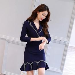 2634 ladies small suit collar slim dress