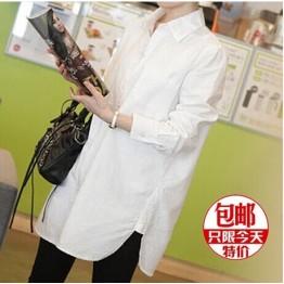1515 women's long sleeve Korean fashion casual cotton and linen shirt