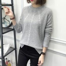 8096 loose semi-high collar long sleeve sweater