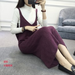 8011 Korean women's V-neck woolen knitted dress