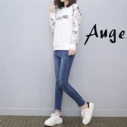 8010 Korean Style Long Sleeve Loose Letter Print T-Shirt