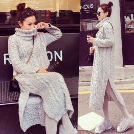 1755 autumn and winter Korea loose twist knitted thick long high collar sweater dress