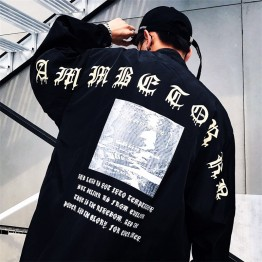 1036 Sanskrit letters large size drawing rope zipper windbreaker autumn sunscreen jacket