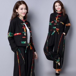 945 cotton and linen high waist personalized plate buckle Chinese style collar short jacket with lining
