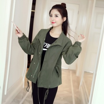 1983 2017 autumn new loose casual short jacket army green jacket