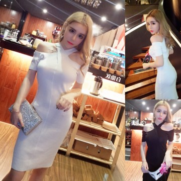 5114 # model real shot! 2017 summer new strapless sexy hanging neck waist knitted stretch dress