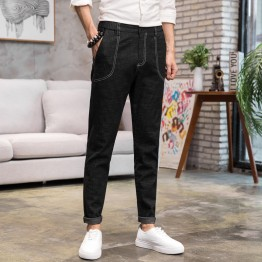 Men's original color jeans elastic feet pants wild Slim trousers Korean casual solid color elastic pants