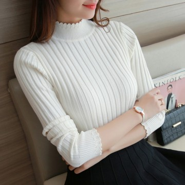 8521 autumn and winter lace semi-high collar vertical stripes elastic sweater