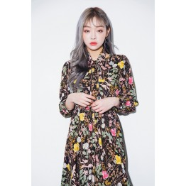 6263 chic retro pastoral floral lacing wait long dress
