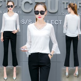 646 autumn new shirt women's long-sleeved Korean short loose shirt