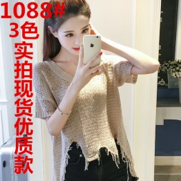 1088 summer short-sleeved irregular burr t-shirt loose hollow V-neck knit blouse