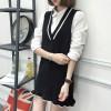 8098 # autumn and winter Korean sweater knitted harness vest skirt long V neck bottom dress