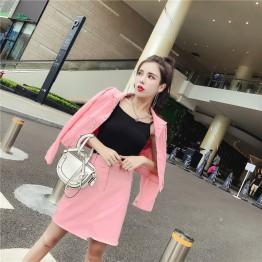 8502 Korean fashion slim denim short jacket with high waist skirt