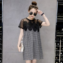 5880 splicing net yarn lattice high waist dress