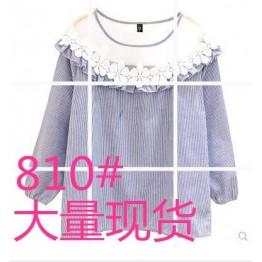 810 fashion round neck yarn lace stitching lantern sleeves striped shirt