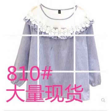 2017 spring Korean fashion round neck yarn lace stitching lantern sleeves striped shirt