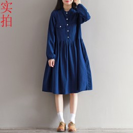 8235 new literary style pure color cotton and linen loose dress