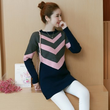 8049 # real autumn and winter new models in the long sweater loose large size of women fat mm was thin sets of bottoming shirt