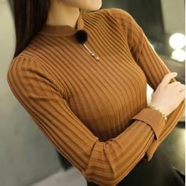 628 women 's semi - high round collar bottoming shirt