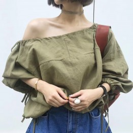 C4965 Retro Pure Color Elastic Shield Shoulder Shirt