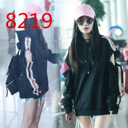 8219 street shoot black hole loose long sleeve hooded sweatshirt