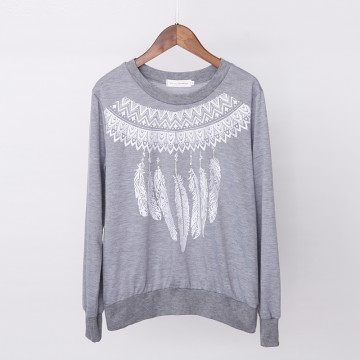 New autumn and winter loose printing feathers sets of sweater women 2087 #
