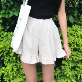 987 women's wide leg lotus leaf shorts