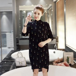 2230 loose cactus printing doll collar pregnant women dress