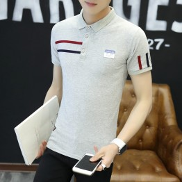 Men's summer collar collar short sleeve t-shirt male lapel collar Paul Slim Korean youth lead cotton Polo shirt 2093