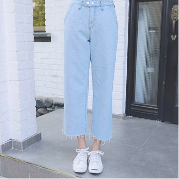 2017 summer Korean version of loose jeans high waist burr nine points cowboy wide leg pants female was thin straight jeans # 007