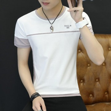 2017 summer new men's short-sleeved T-shirt Slim round neck tonic striped cotton bottoming shirt half-sleeved men 1011