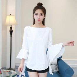 1008 new women's ladies temperament pure color boat neck shirt