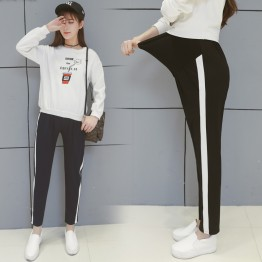 2078 leisure side white strip pregnant women sports nine pants