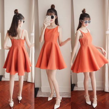 2017 new Korean fashion collar small clear new back skirt