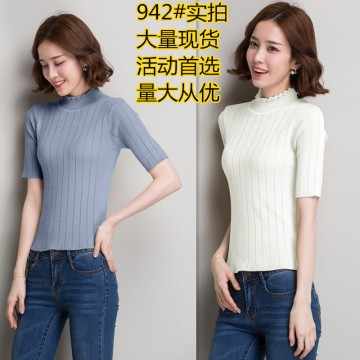 Autumn and winter Korean version slim thin knitted fabric