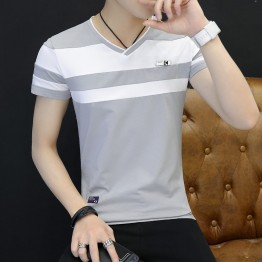 New summer new striped cotton stitching Slim short-sleeved V-neck men's T-shirt 2333