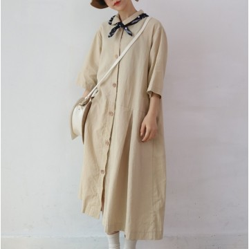 A318 summer retro chic preppy style pure color single-breasted lapel dress