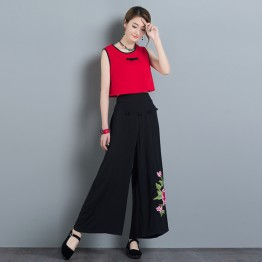 329 cotton and linen embroidery large size national wide leg pants