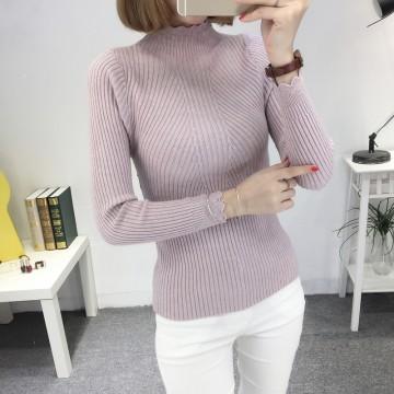8079 # autumn and winter new slim high collar sweater Korean long-sleeved wild base sweater