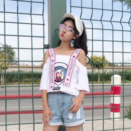 8251boat neck beauty head off shoulder short sleeve T-shirt